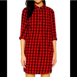 Madewell soft plaid red black dress as xs nwot